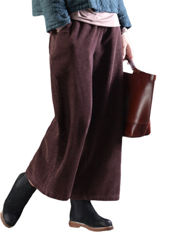 Casual Solid Color taille élastique femmes Cordurroy Pantalon large jambe