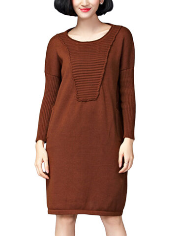 Loose Women Solid Stripe Pocket Long Sleeve Knitted Dress