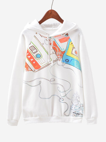 Buy Women Tapes Printed Long Sleeve White Autumn Hooded Sweatshirt