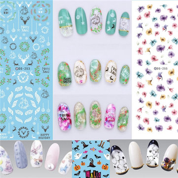 Water Transfer Nails Art Sticker Flower Christmas Halloween Nail Wraps Decal Manicure