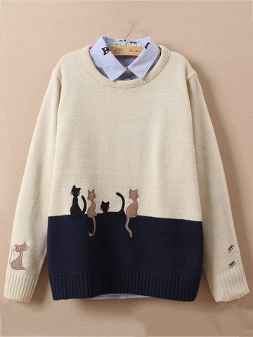 Cute Cat Embroidery Knitted Sweater for Women