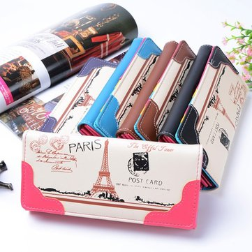 Women Eiffel Tower Candy Color Stamp Long Wallet