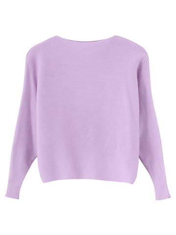 Women Casual Knitting Off-shoulder Bat Sleeve Loose Tops
