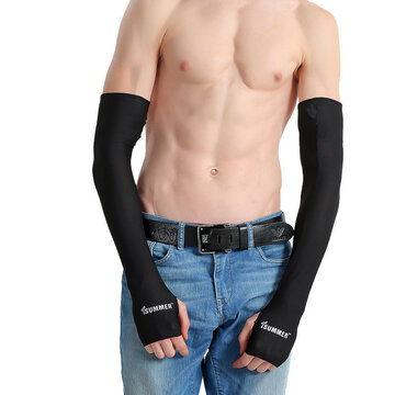 Men Women Anti-UV Sunscreen Half Finger Cuff Outdoor Driving Arm Sleeves Fingerless Gloves