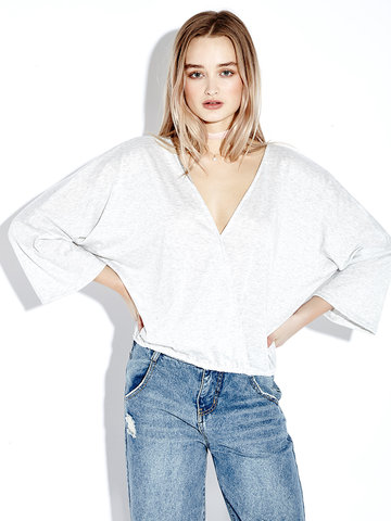 Women Casual Loose V-neck Pure Color Long Sleeve T-shirt