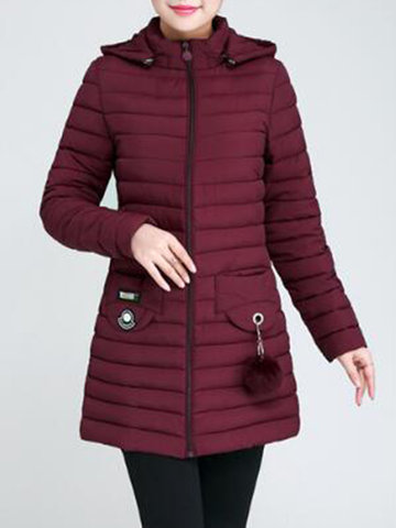 Casual Women Solid Color Long Sleeve Hooded Down Coat