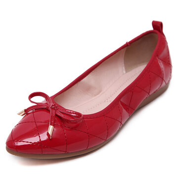 Big Size Plaid Butterflyknot Slip On Folded Pu Egg Roll Shoes