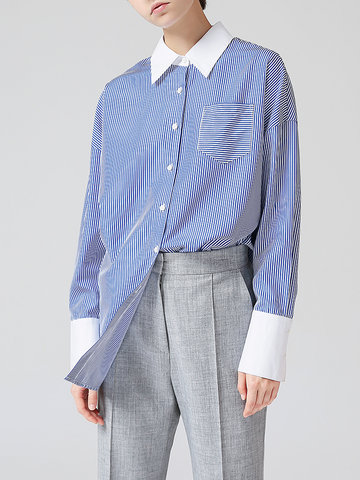 TOYOUTH Stripe Patchwork Loose Blouses