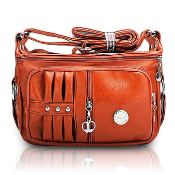 Women Multi-pocket Pillow Leisure PU Leather Crossbody Bags Elegant Metal Decoration Shoulder Bags