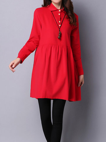 Vintage Women Long Sleeve Buttons Corduroy Spring Dresses