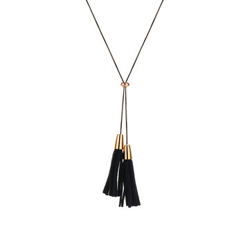 Women's Punk Necklace Leather Tassel Long Necklace