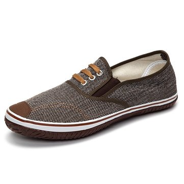 Light Canvas Round Toe Slip On Casual Shoes for Men