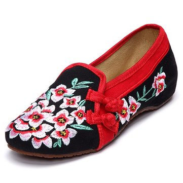 Flower Chineseknot Flat Casual Embroidery Retro Vintage Shoes