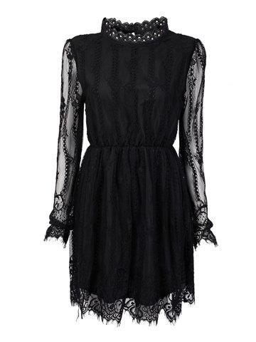 Elegante encaje transparente plisado elástico cintura mini vestido de mujer