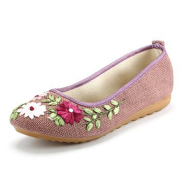 Цветочная печать Красочный национальный ветер скольжения на плоской обуви