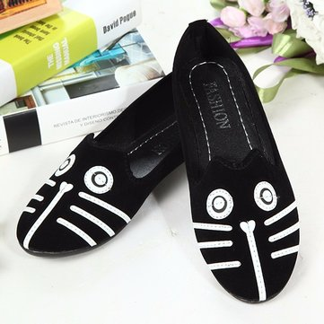 Suede Cute Cat And Dog Cartonn Flat Shoes
