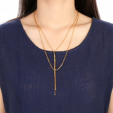 Double layer Shimmer Gold Plated Necklace