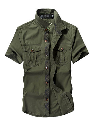 AFSJEEP Casual Cotton Washed Breathable Short Sleeve Band Collar Cargo Dress Shirts for Men