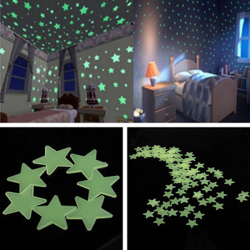 3cm 100PCS Fluorescent Glow Star Wall Sticker Bedroom Living Room Kids Home Decor