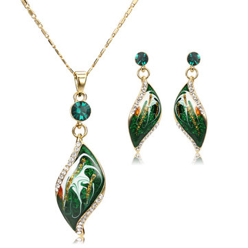 Green Oil Painting 14K Gold Plated Crystal Drop Jewelry Set