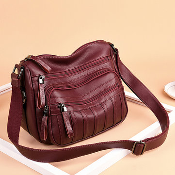 Women Vintage PU Leather Crossbody Bag
