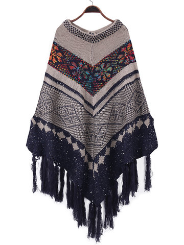 Print Tassels Irregular Women Sweaters