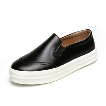 Leather Black Breathable Retro Soft Slip On Flat Loafers