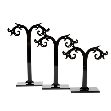 3pcs Black Clear Acrylic Tree Shaped Jewelry Display Holder