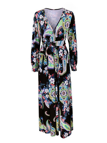 Women Long Sleeve Deep V-Neck Floral Printed Maxi Dresses