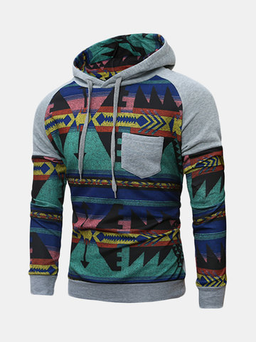 Mens Hoodies Retro Pattern Printing Stitching Front Pocket Casual Sport Hooded Tops