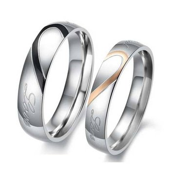 Heart Shape Puzzle Titanium Steel Couples Rings
