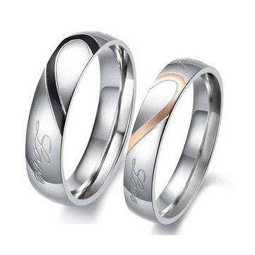 Heart Shape Puzzle Titanium Steel Couples Rings