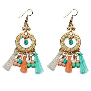 Женские богемские серьги Бусины Rhinestone Tassel Earrings
