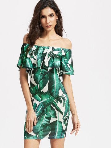 Sexy Leaves Print Off-shoulder Flouncing Short Sleeve Women Mini Dress