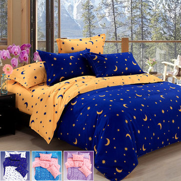 4pcs Bedding Suit Polyester Fibre Star Moon Reactive Printed Bedding Sets Queen Size