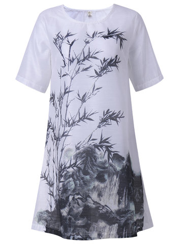 Vintage Ink Printed Half Sleeve A-Line Dress For Women