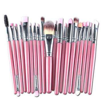 20Pcs Pink Handle Wool Brush Set Facial Makeup Power Blush brushes