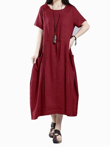 Casual Loose Short Sleeve Solid Pockets Pleated Women Dress