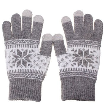 Men Women Snowflake Warm Touch Screen Knit Stretch Gloves Full Finger Mittens