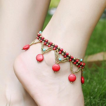 c bohemian gold starfish anchor pearl silver anklets newchic leather for anklet womens