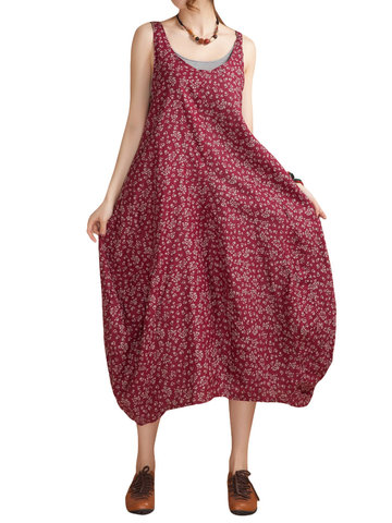 O-Newe Tribal Style Strap Floral Printed Lantern Maxi Sundress For Women