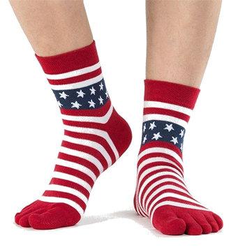 Мужские хлопчатобумажные пятерки с пальцами Носки Звездная полоса Shaped Middle Tube Спортивные носки