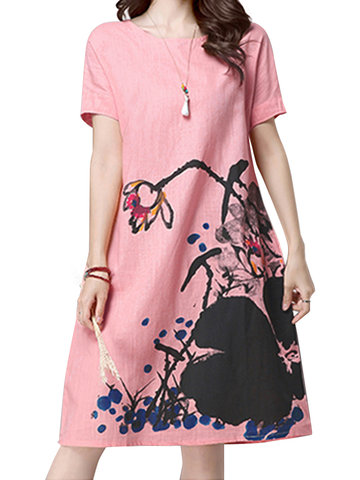 Casual Ink Printed O-Neck Short Sleeve A-Line Dress For Women