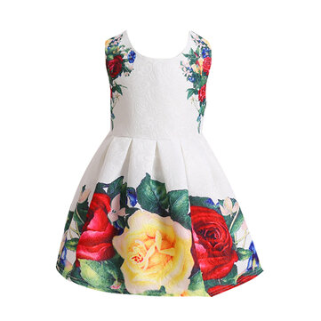 Floral Print Sleeveless O-neck Pleated Dress For Kids Girl