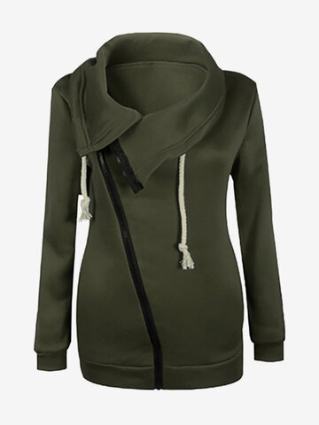 Casual Sideling Zipper Women Coats