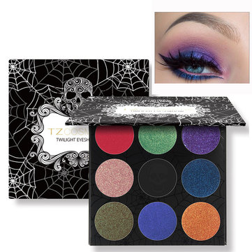 TZ Skull Eyeshadow Palette Matte Diamond Glitter Foiled Halloween Eye Shadow Blush Makeup