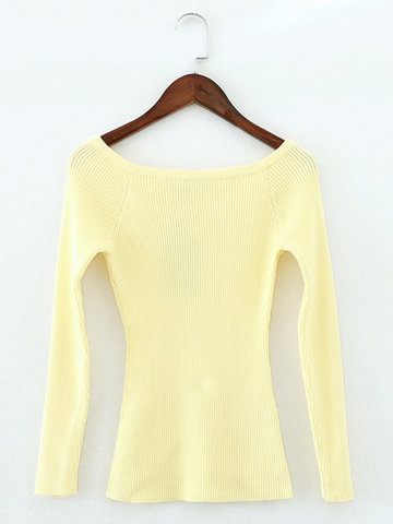 Women Casual Off-shoulder Slim Long Sleeve Sweater