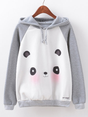 Women Cartoon Panda Printed Long Sleeve Cotton Hooded Sweatshirt