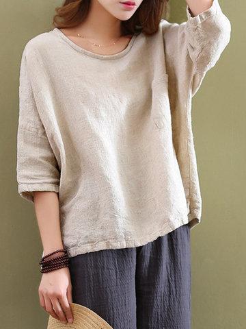 Casual Women Mori Pocket O-Neck 3/4 Sleeve Loose Blouse