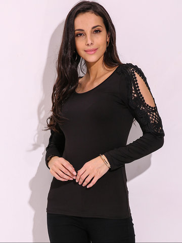 ZANZEA Sexy Lace Hollow Out Long Sleeve O-Neck Top For Women